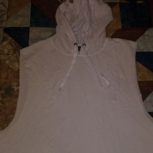 White distressed long scooped hooded tank top